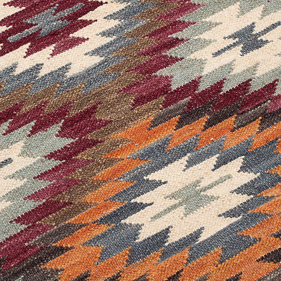 Tapis de couloir à motif en laine - multicolore 60x200cm-STELLA