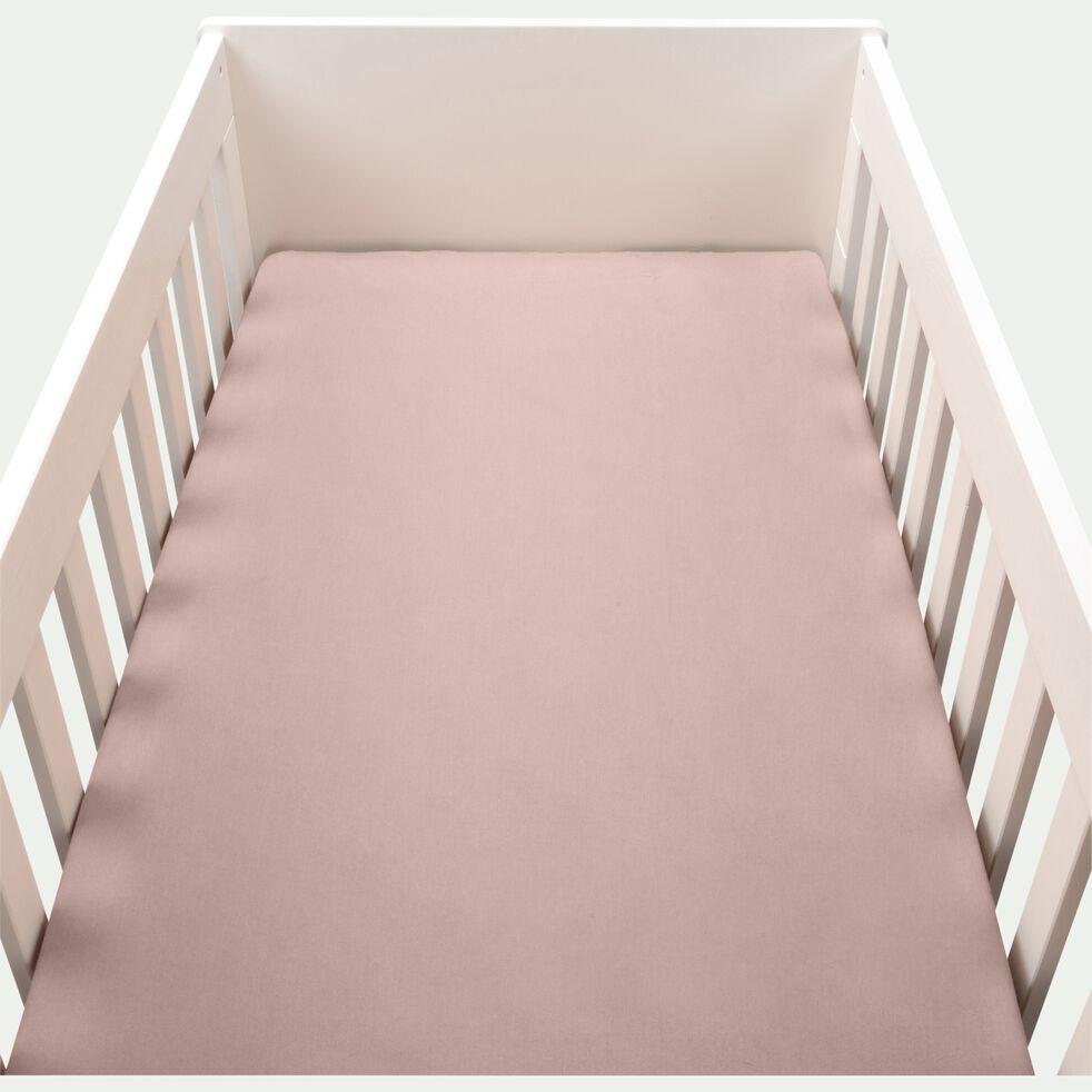 Drap housse bébé en coton bio 70x140+B15cm - rose rosa-Calanques