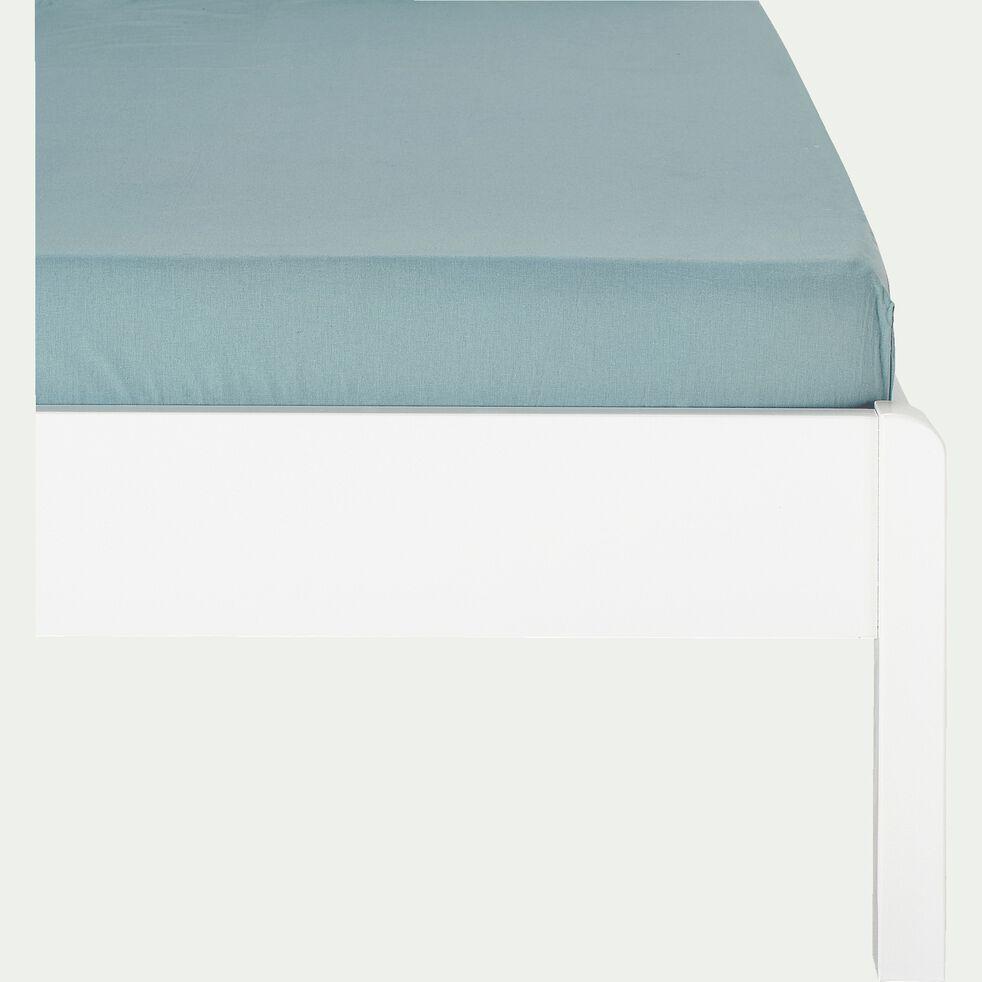 Drap housse enfant en coton 90x170+B15cm - bleu calaluna-Calanques