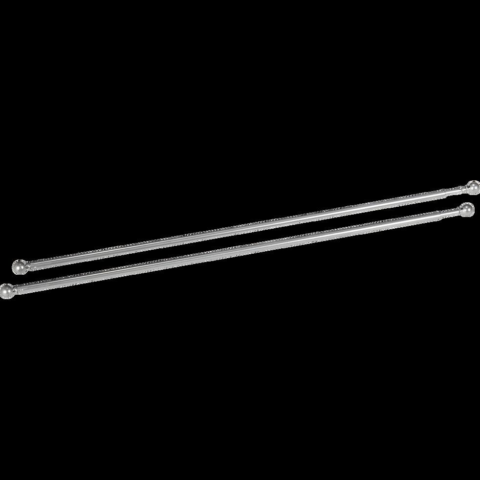 Tringle extensible pour vitrage coloris argenté 80 à 110cm-Simply