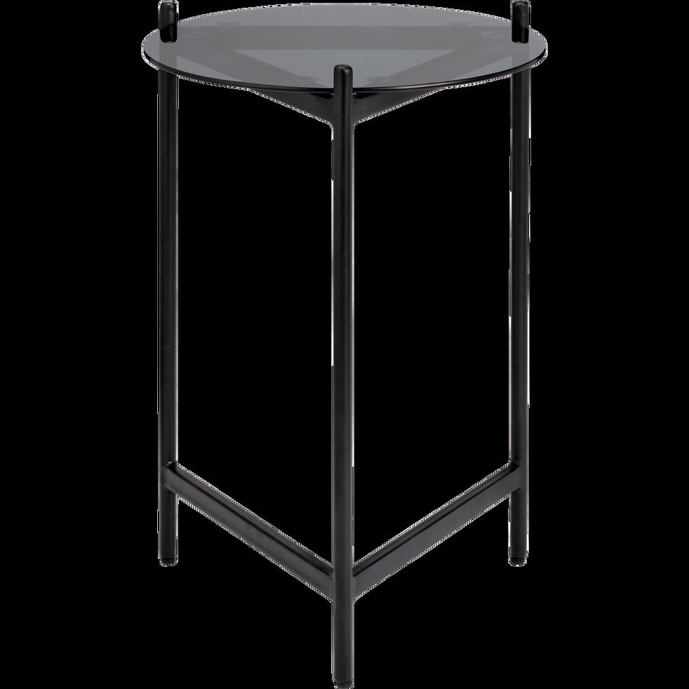 bout de canap rond en verre et en m tal noir arou. Black Bedroom Furniture Sets. Home Design Ideas