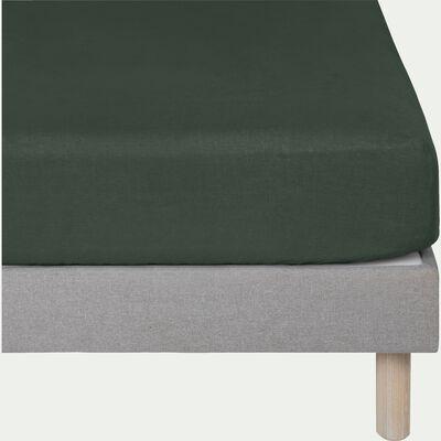 Drap housse en lin - vert cèdre 160x200cm B28cm-VENCE