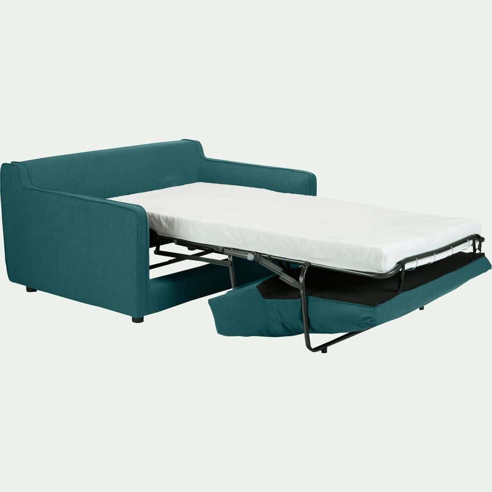 Canapé 2 places convertible en tissu - bleu niolon-LENITA
