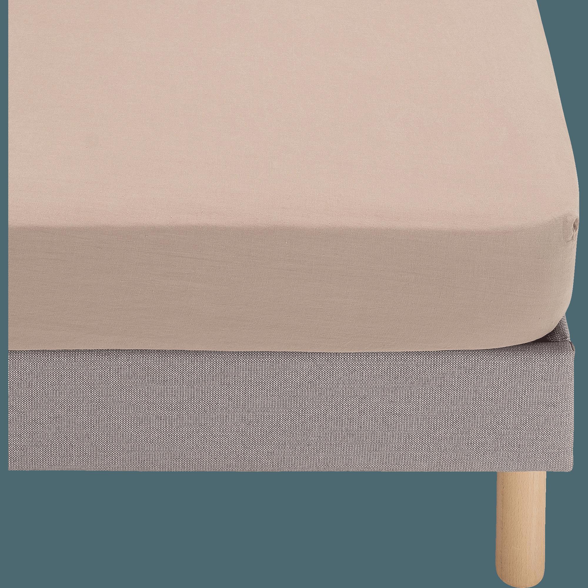 Drap housse en coton rose 180x200cm - VENCE