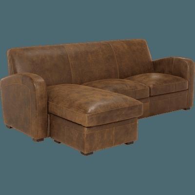 Canapé d'angle réversible en croûte de cuir-CUBA