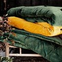 Édredon en velours de coton surpiquage pompons - vert cèdre 100x180cm-EDEN