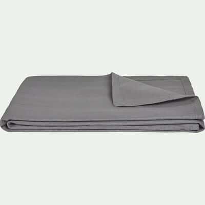 Plaid tissé en coton gris borie 180x230cm-BELCODENE