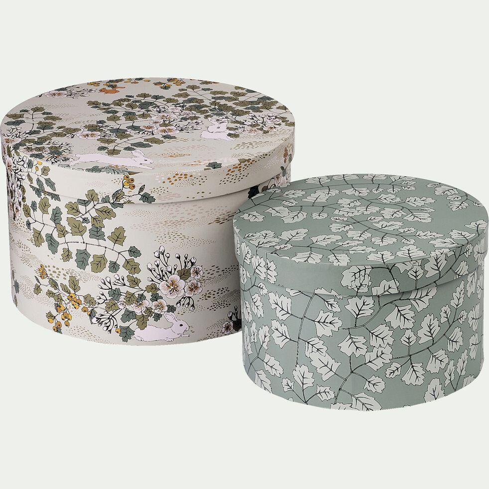 Lot de 2 boites rondes décoratives motif sous bois-LIMA