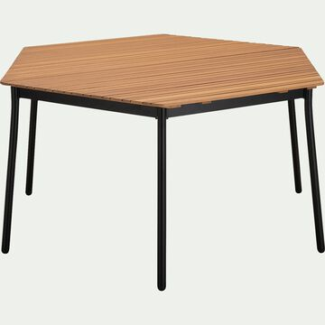 Table hexagonale de jardin en aluminium et eucalyptus (4 à 6 places) - naturel-TANOS