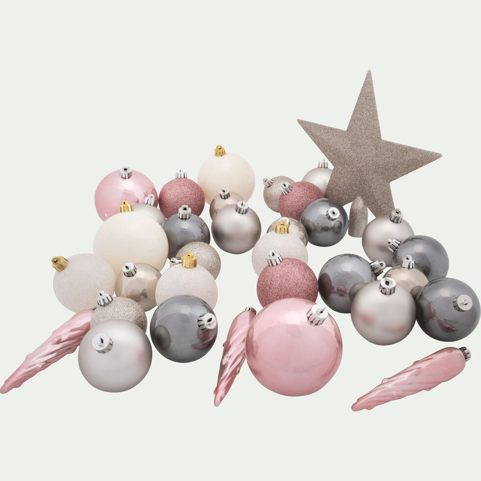 Lot de 33 décorations de Noël rose-Peire