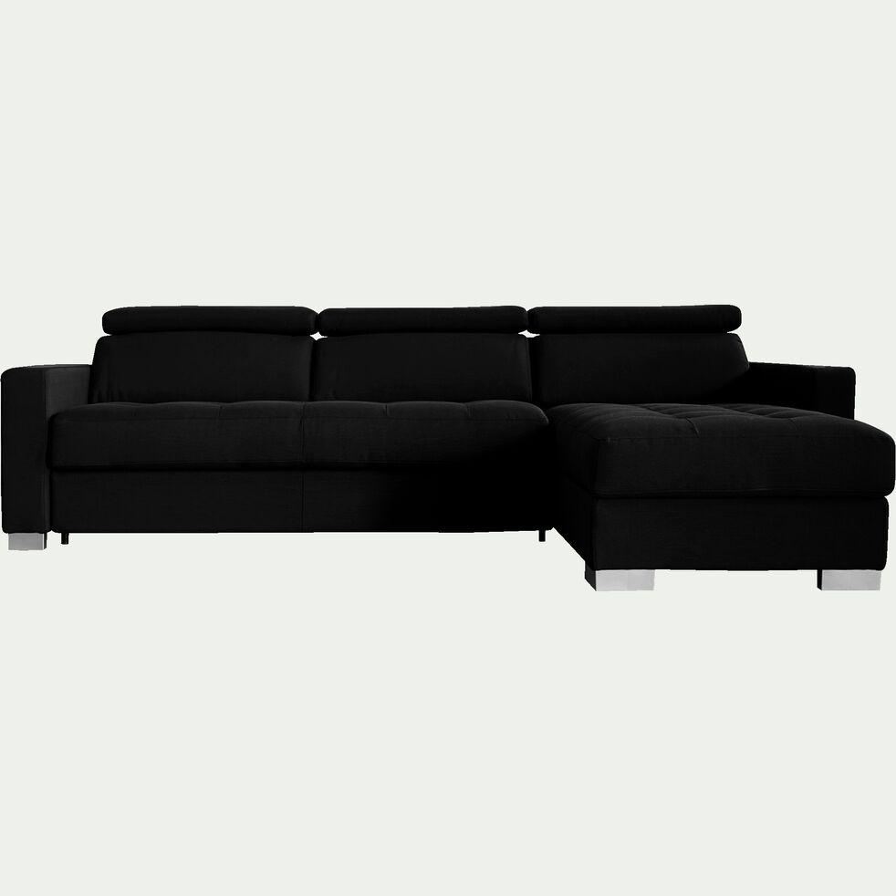 Canapé 4 places fixe en tissu avec angle reversible et accoudoir 15cm - gris anthracite-MAURO
