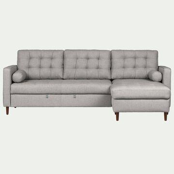 Canapé d'angle réversible convertible en tissu - gris borie-ROMEO