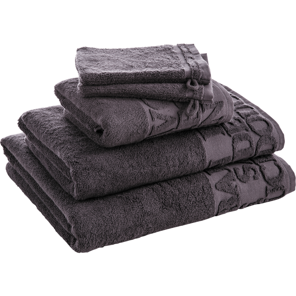 Serviette de bain 50x90cm à liteau gris-BULLY