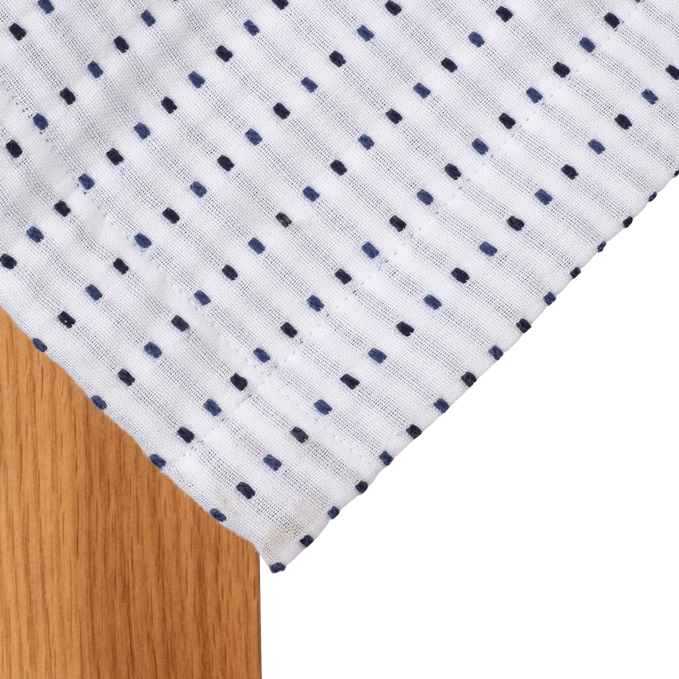 Nappe en coton à motifs bleu myrte 170x250cm-LEA