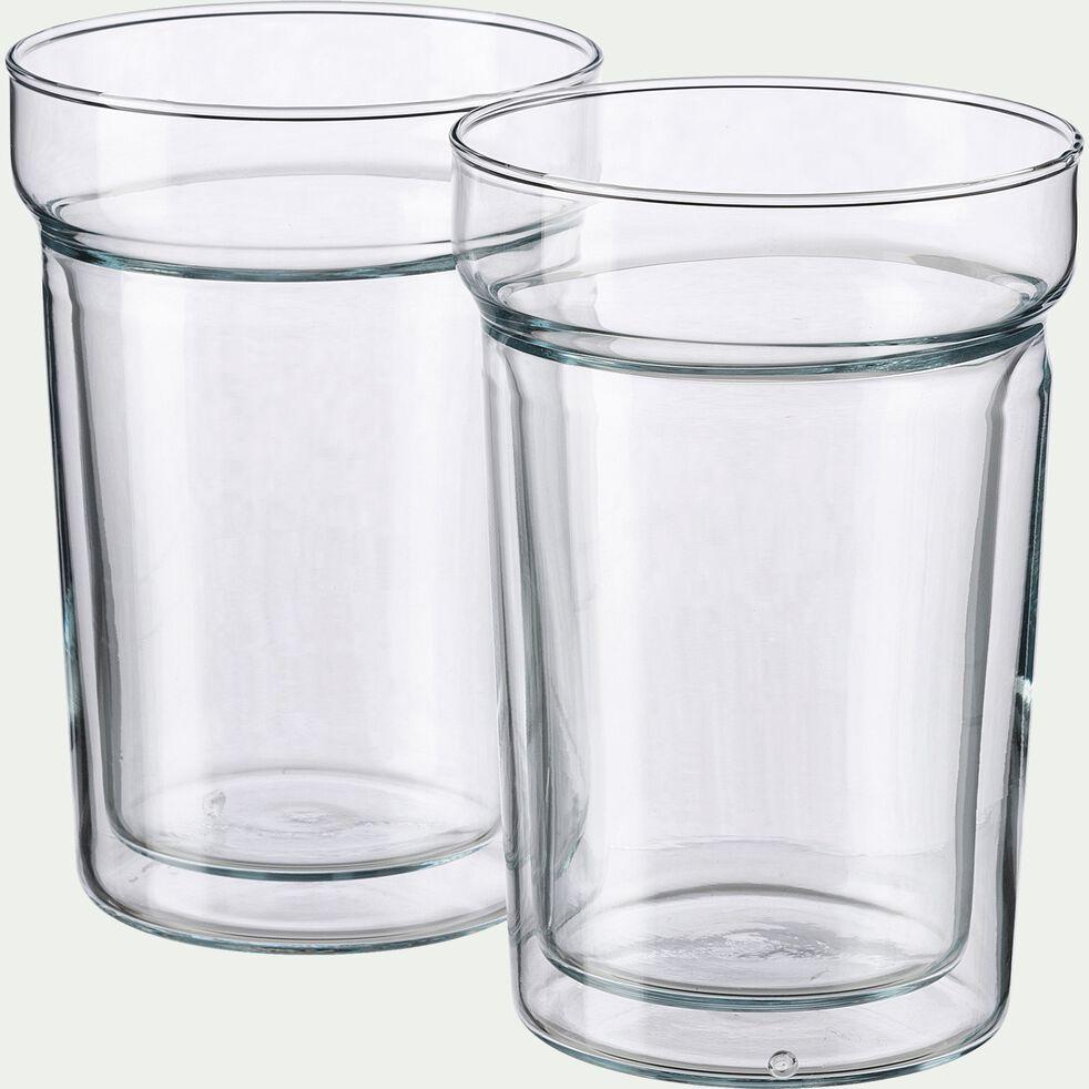 Lot de 2 tasses en verre transparent 30cl-ALCENE