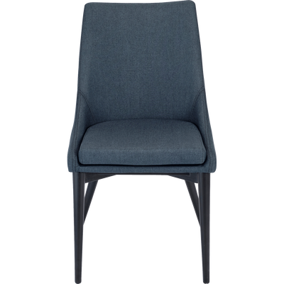 Chaise en tissu bleu figuerolles pieds noirs-ABBY