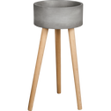 Cache-pot en pierre et bois H69xD35cm-TAMARIS