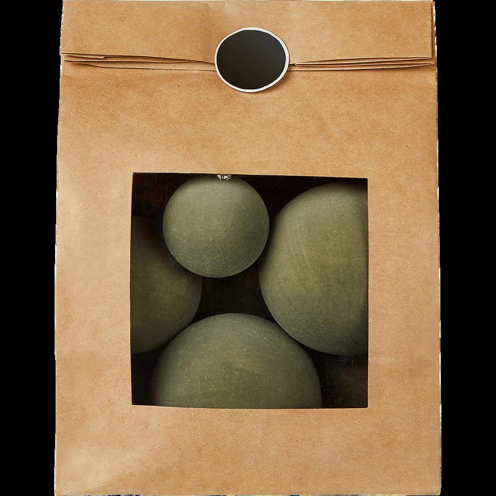 Lot de 9 boules en velours vert (plusieurs tailles)-MILOUN