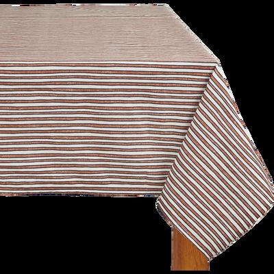 Nappe en lin et coton à rayures rouge 170x250cm-SIDI