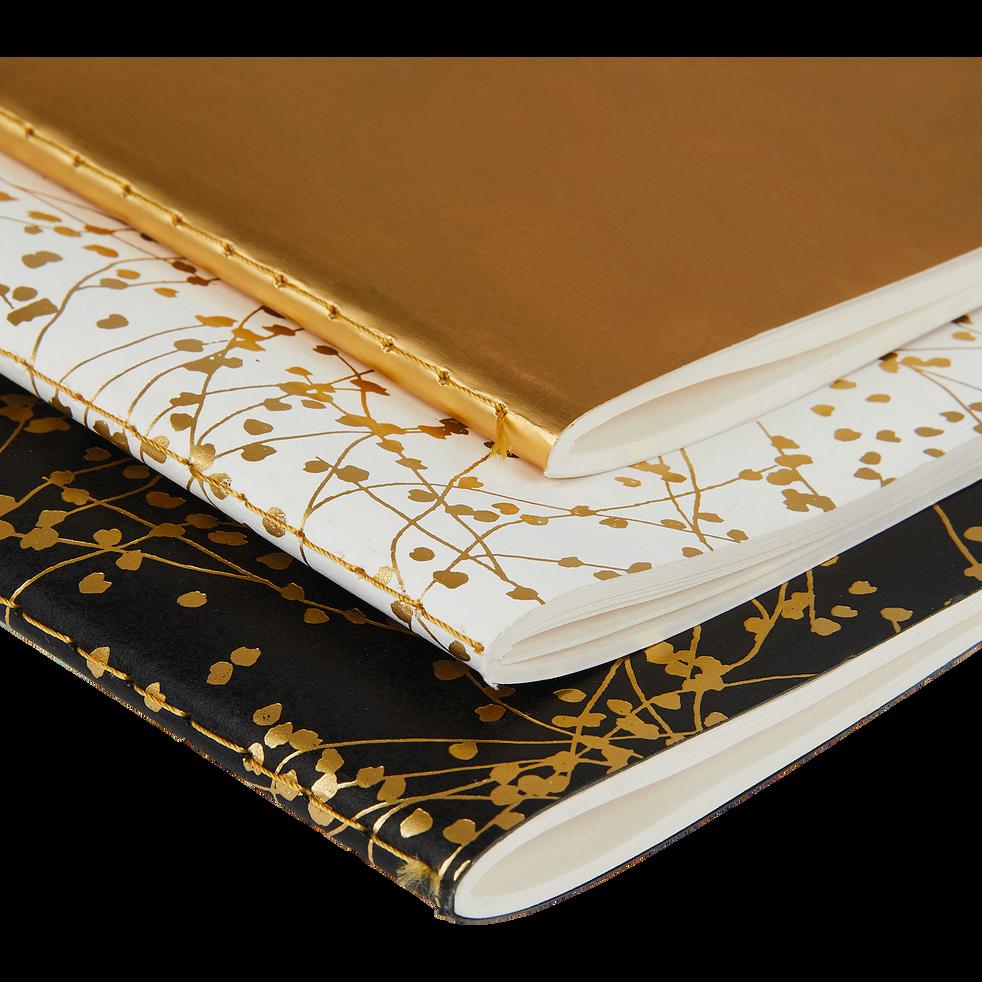 Lot de 3 carnets à motifs dorés-Ginko