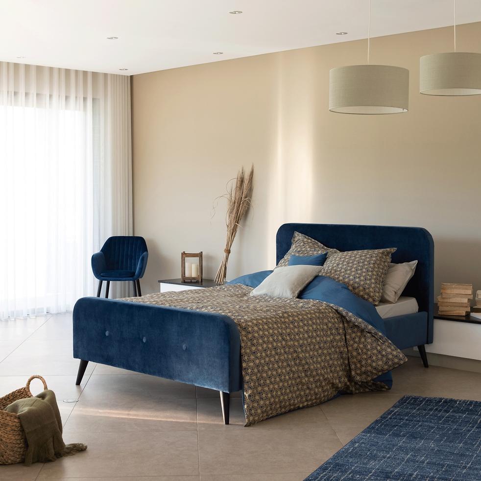 Lit 2 places avec structure et tête de lit en velours bleu figuerolles 140x200cm-AGNES