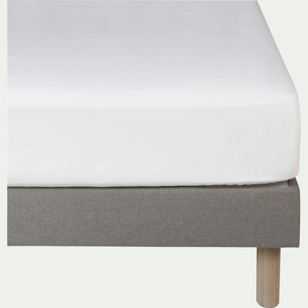 Drap housse en lin - blanc capelan 160x200cm B28cm-VENCE