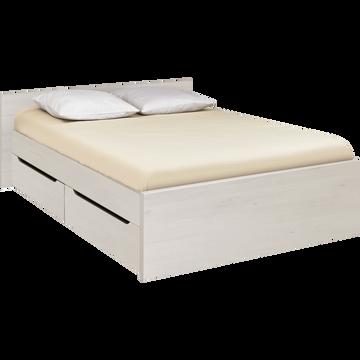 Lit 2 places avec tête de lit & tiroirs cerisier blanchi - 140x200 cm-BROOKLYN
