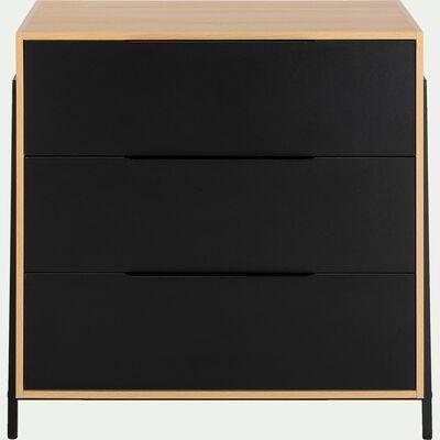 Commode 3 tiroirs noir-HENRY