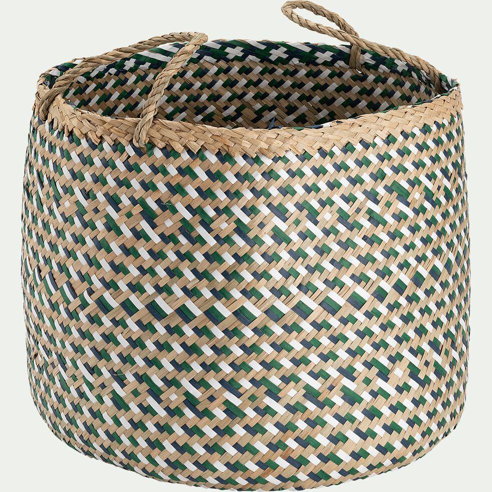 Panier tressé en jonc de mer et papier - bleu D30xH30cm-Lola