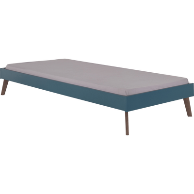 Lit finition bois Bleu figuerolles - 90x200 cm-SACHA