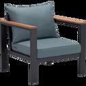 Salon de jardin en aluminium gris et bleu (5 places)-ROYAL