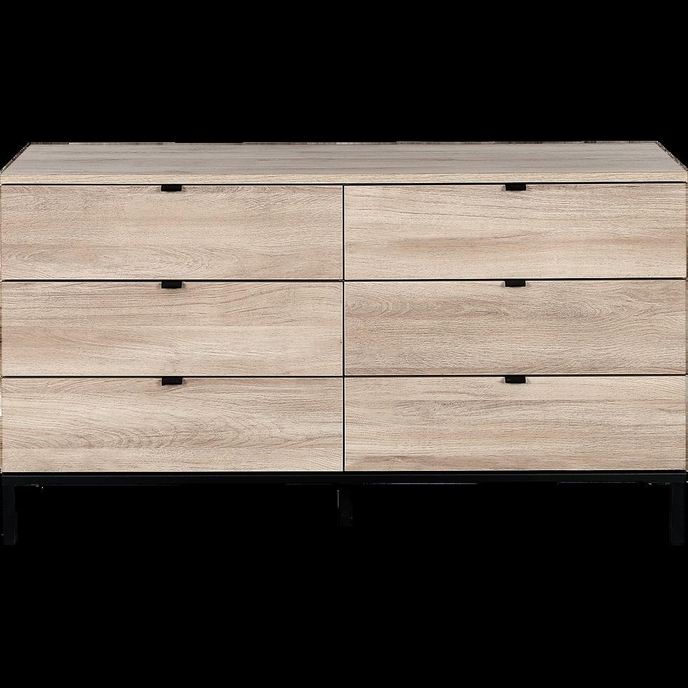 Commode 2x3 tiroirs finition chêne clair et métal noir-CASTEL