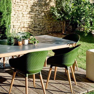 Chaise de jardin avec accoudoirs en eucalyptus vert kaki-ANTIBES