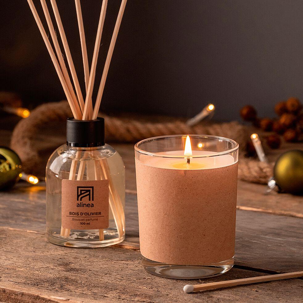 Bougie parfumée senteur bois d'Olivier 140g-BOIS D'OLIVIER