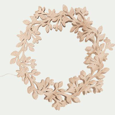 Couronne de Noël en bois l25Xh23cm - naturel-BONIFACE