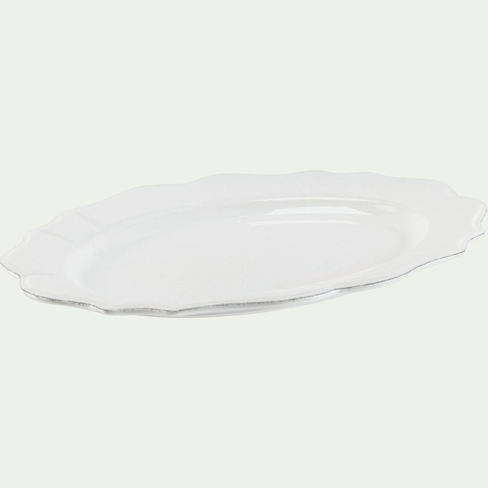 Assiette de présentation en faïence ovale L40xl30cm- blanc-LISE