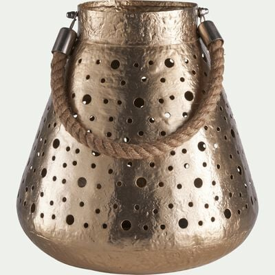 Lanterne en fer doré D26xH27cm-TUNIS