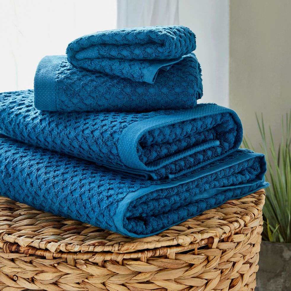 Linge de toilette bouclette en coton- bleu figuerolles-ETEL