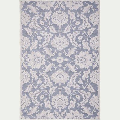 Tapis intérieur et extérieur inspiration dentelle - écru et bleu 160x230cm-TARA