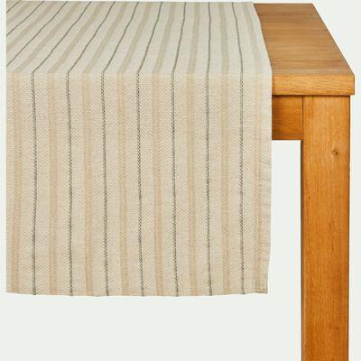 Chemin de table en lin et coton à motifs vert cèdre 50x150cm-NAIS