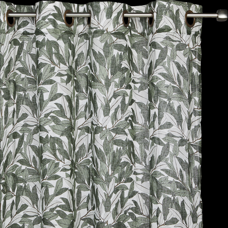 Rideau à Oeillets Vert Imprimé Feuilles De Laurier 140x250cm LAURIER