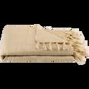 Plaid à franges en coton beige roucas 130x170cm-CALANQUES