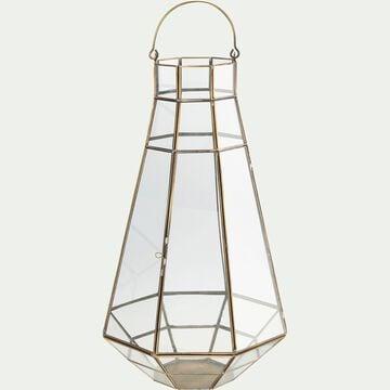 Lanterne en métal doré et verre - H39cm-ORIANA