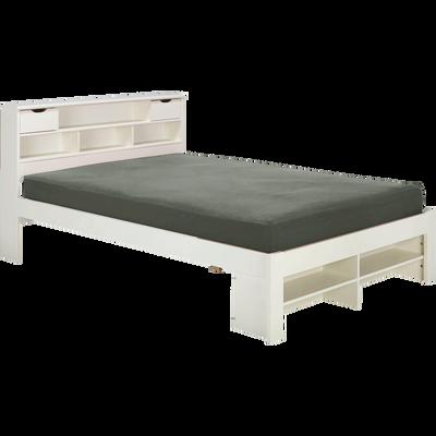 Lit 2 places avec tête de lit en pin massif Blanc - Plusieurs tailles-NARA