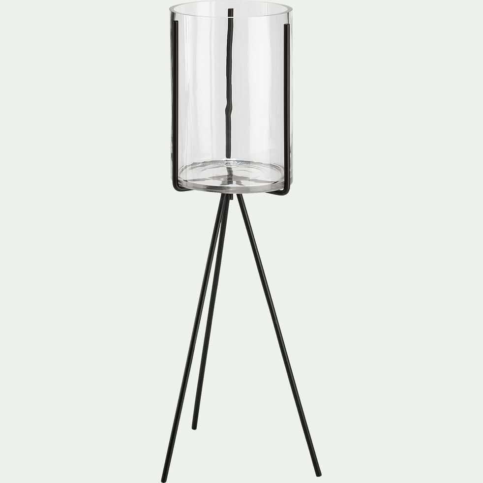 Vase en verre sur trépied - transparent et noir H80-MARMARIS