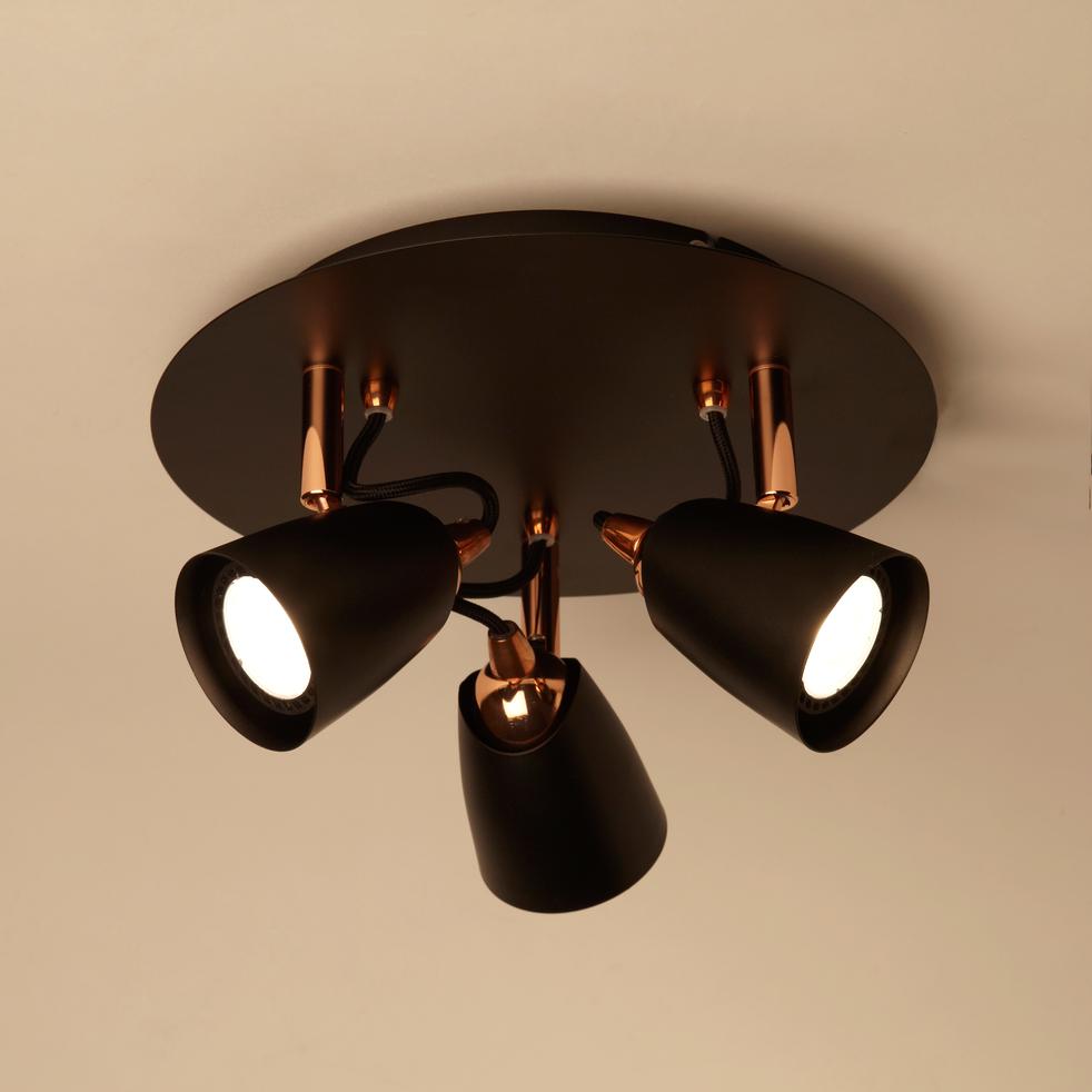 plafonnier de 3 spots en m tal noir et cuivre d25cm ride plafonniers alinea. Black Bedroom Furniture Sets. Home Design Ideas