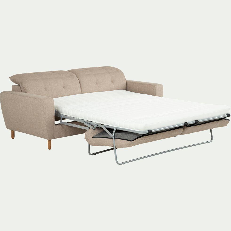 Canapé convertible 3 places en tissu avec têtière réglable - beige-ODYS