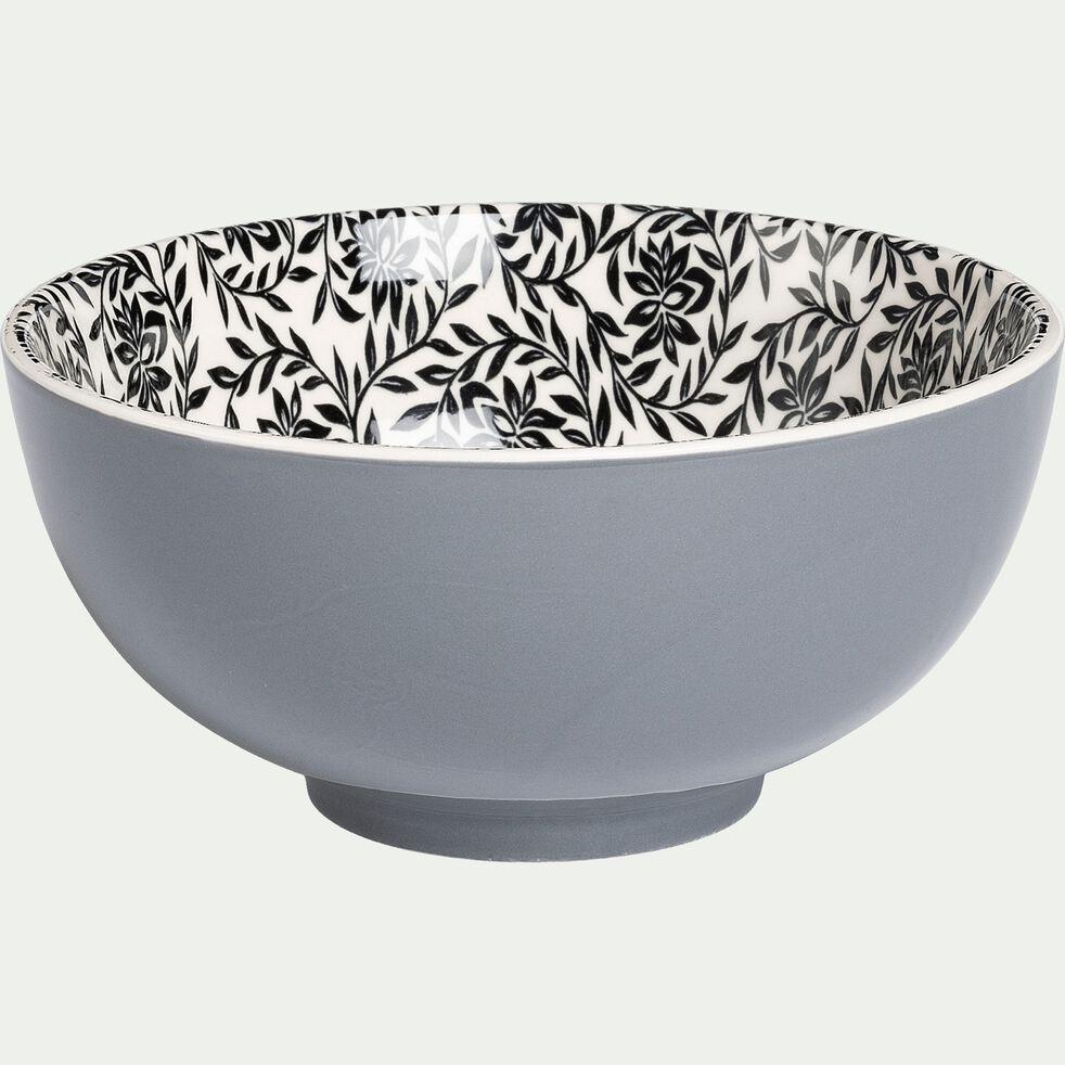 Bol en porcelaine - gris restanque motif jasmin D15cm-AIX