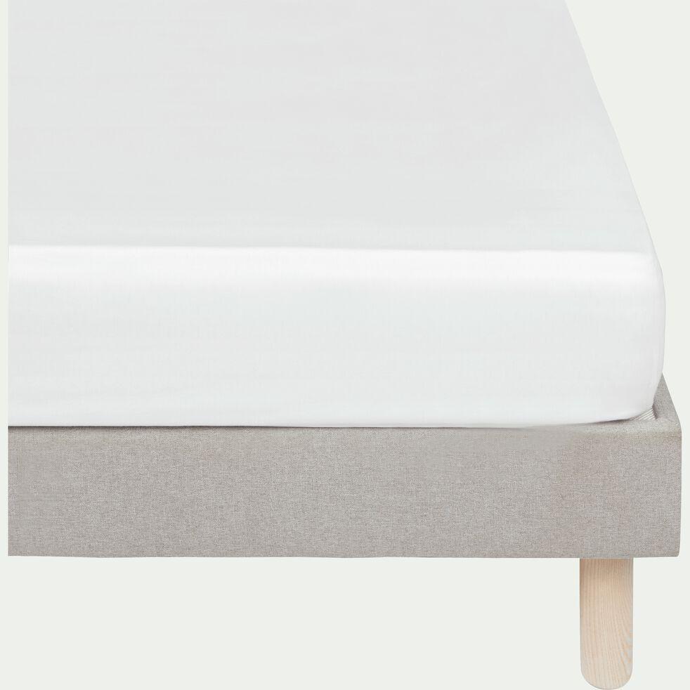 Drap housse rayé en satin - blanc capelan 140x200cm B25cm-SANTIS