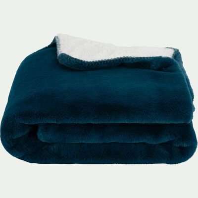Plaid imitation fourrure en polyester - bleu figuerolles 130x170cm-MARIUS